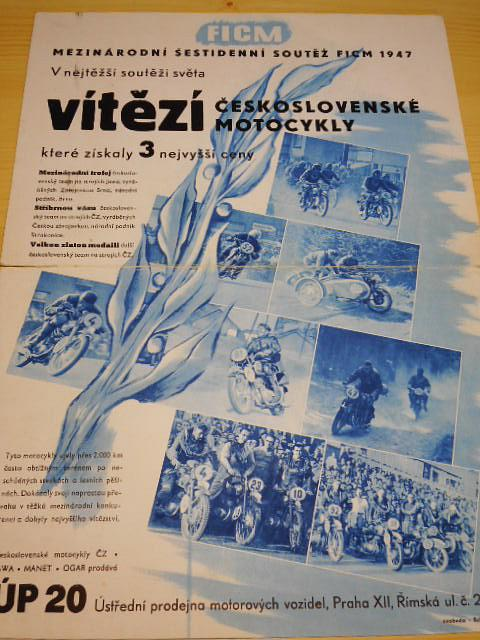 JAWA, ČZ - Mezinárodní šestidenní soutěž FICM 1947 - v nejtěžší soutěži světa vítězí československé motocykly - papírová reklama - ÚP 20