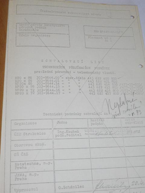 Schvalovací list technických přejímacích podmínek pro: zadní pérování - teleskopický tlumič - 1972 - JAWA, ČZ...