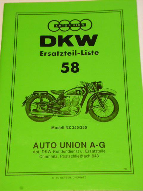 DKW NZ 250/350 - Ersatzteil - Liste - REPRINT