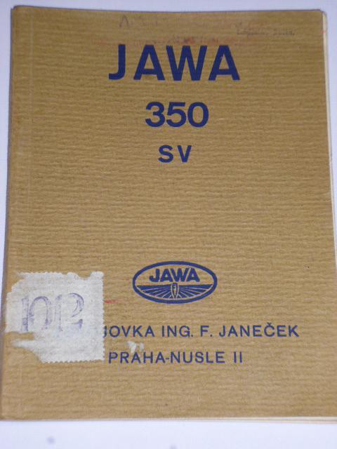 JAWA 350 SV - příručka pro jezdce na motocyklu