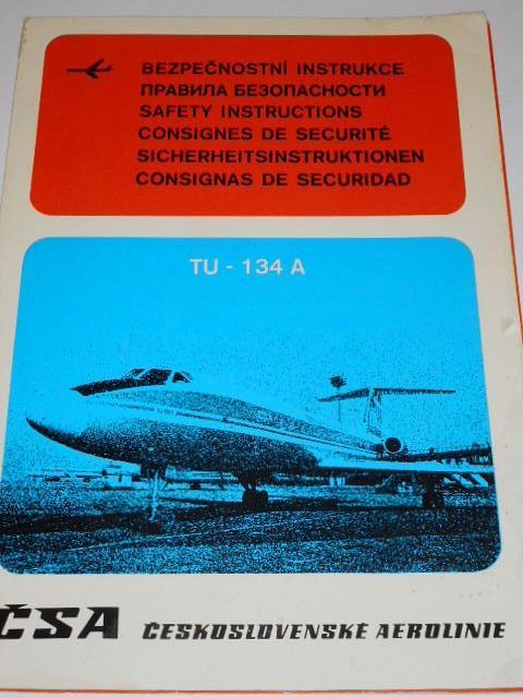 ČSA - Československé aerolinie - TU-134 A - bezpečnostní instrukce