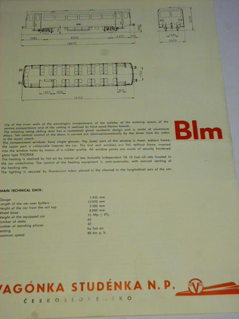 Vagónka Studénka - dvounápravový vůz řady Blm - prospekt