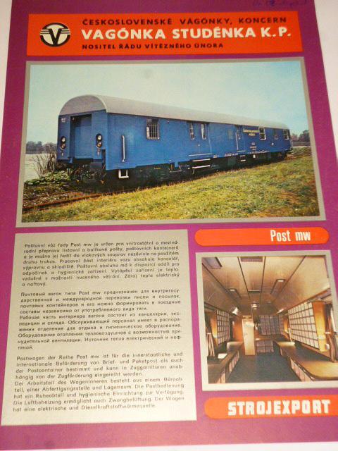 Vagónka Studénka - poštovní vůz řady Post mw - prospekt - Tatra, Strojexport