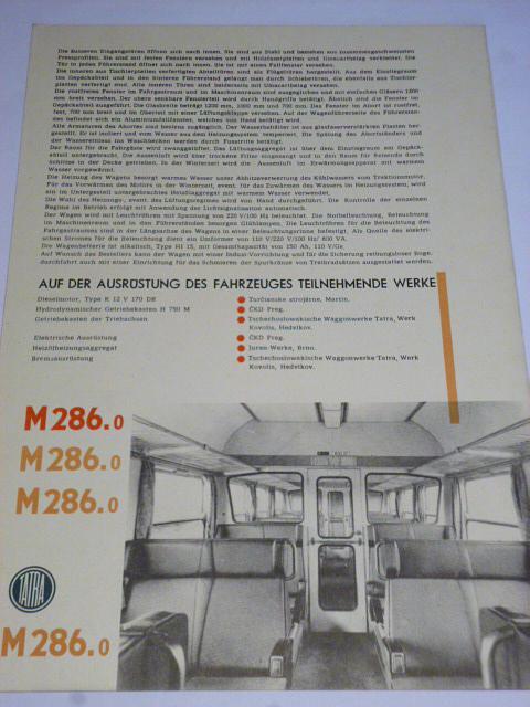 Čs. vagónky Tatra Studénka - Triebwagens M 286.0 - prospekt
