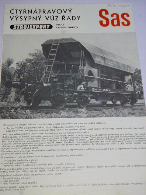 Vagónka Studénka - čtyřnápravový výsypný vůz Sas - prospekt - Strojexport, Tatra