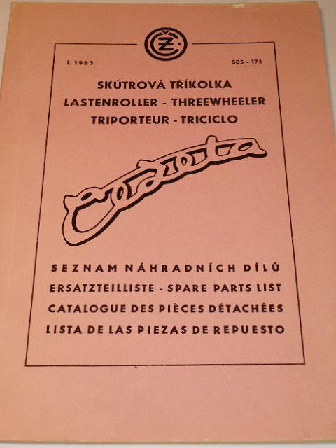 ČZ 175 505 skútrová tříkolka - seznam náhradních dílů - 1963