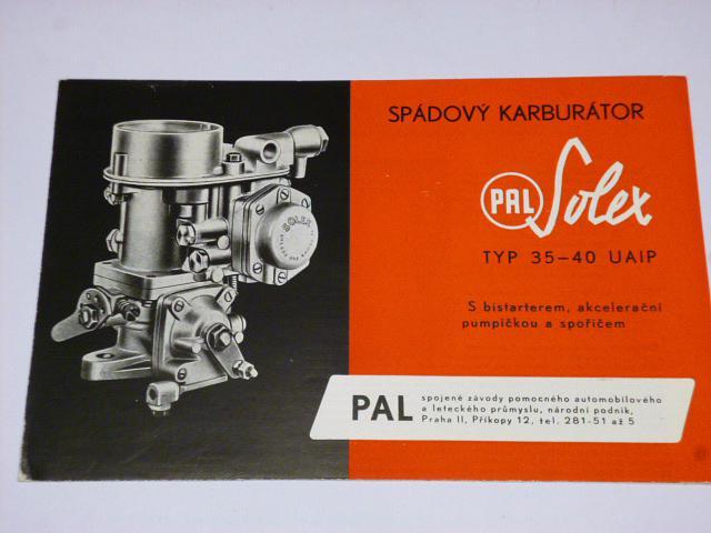 PAL Solex typ 35-40 UAIP - spádový karburátor - prospekt