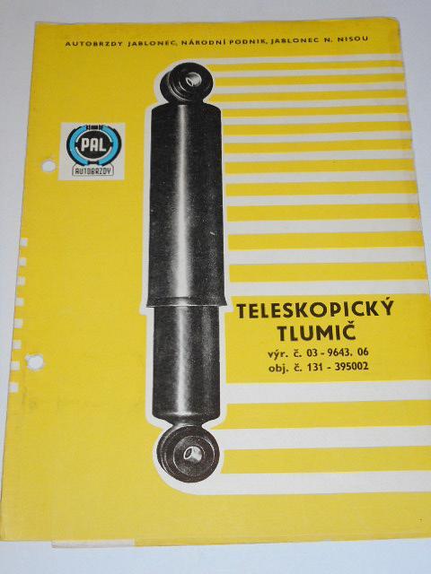 PAL - teleskopický tlumič P36 x 175 - montáž, obsluha, seznam dílů, rozměrový náčrtek - 1965