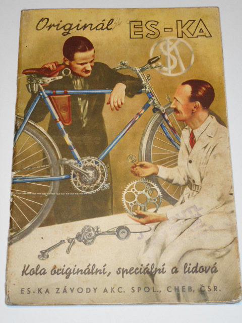 ES-KA kola originální, speciální a lidová + ceník 1938 + Händler-Preisliste 1940 + dopis - informace o motokole s motorem Sachs + kola dětská, kola pro mládež - prospekt