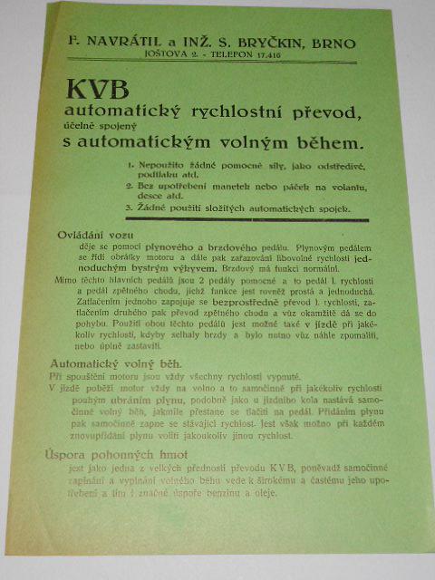KVB automatický rychlostní převod účelně spojený s automatickým volným během - leták