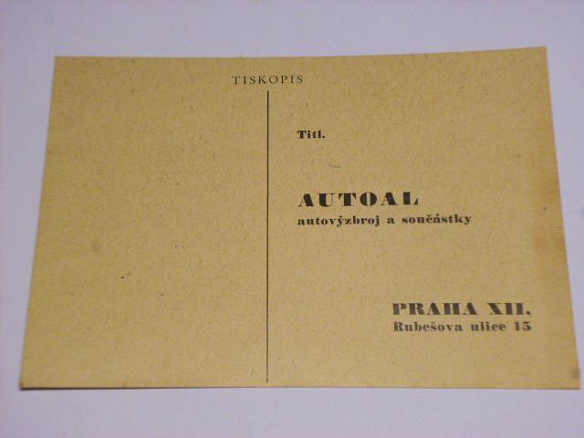 Autoal, autovýzbroj a součástky, Praha - dopisnice - 1946