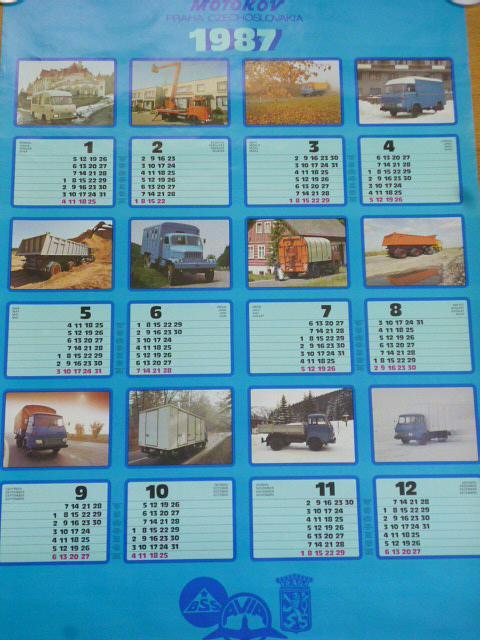 Avia, BSS, Praga - plakát - kalendář - 1987 - Motokov