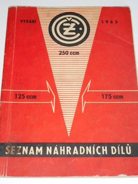 ČZ 125/453, 175/450, 250/455 - 1965 - seznam náhradních dílů