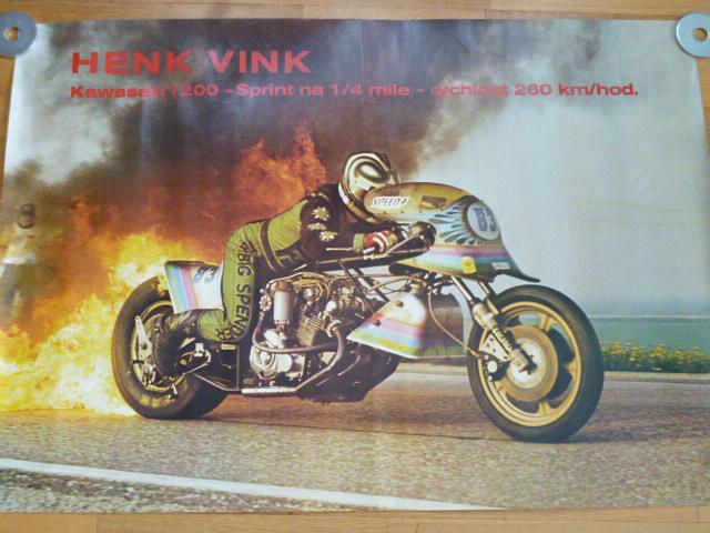 Henk Vink Kawasaki 1200 sprint na 1/4 míle - plakát - 1982