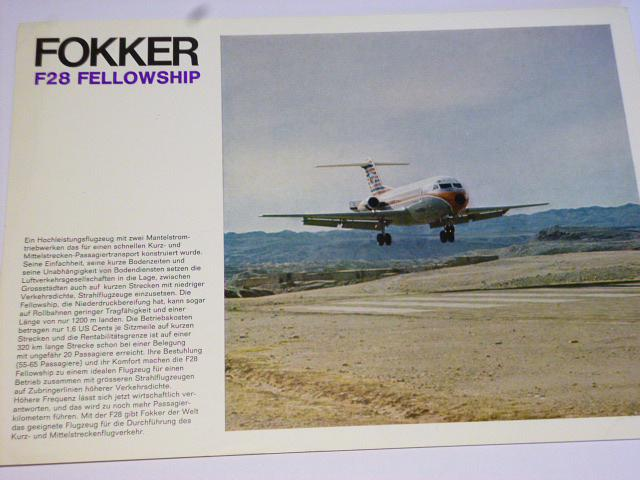 Fokker F 28 Fellowship - prospekt - 1970