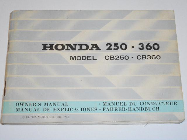 Honda 250, 360 model CB 250, CB 350 Owner´s manual 1974