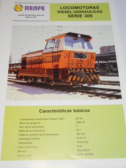 Renfe - locomotoras diesel - hidraulicas serie 309 - prospekt - 1987