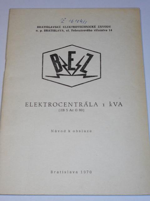 Elektrocentrála 1 k VA - návod k obsluze - 1970