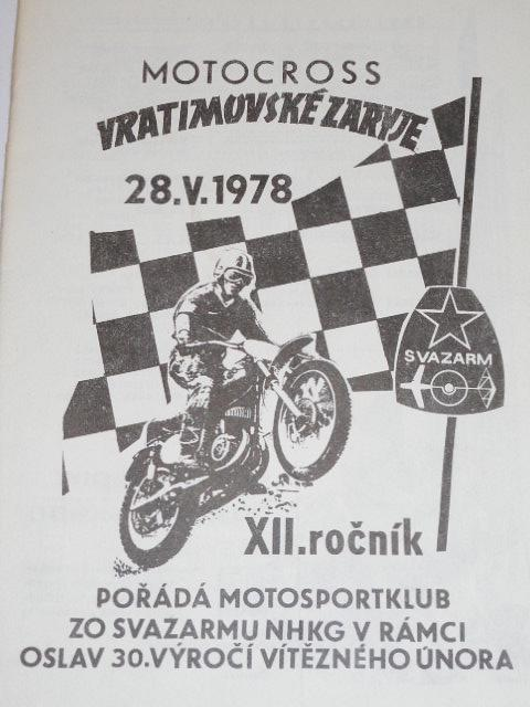 Motocross Vratimovské Zaryje - 28. 5. 1978 - program