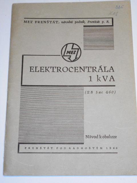 Elektrocentrála 1 k VA - návod k obsluze - 1966
