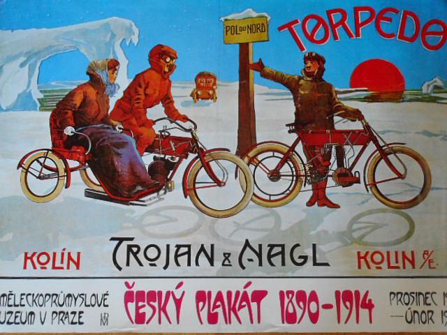 Trojan a Nagl Kolín - Torpedo - Český plakát 1890 - 1914 - plakát