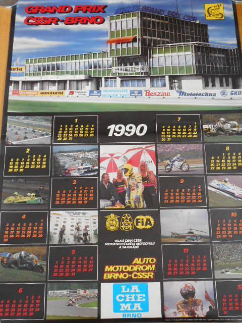 Grand Prix ČSSR Brno - 1990 - plakát - klendář