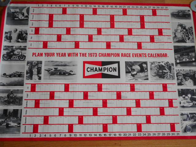 Plan your year with the 1973 Champion race events calendar - plakát
