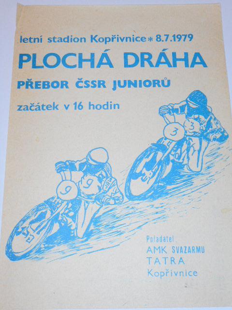Plochá dráha Kopřivnice - AMK Tatra - 8. 7. 1979 - leták