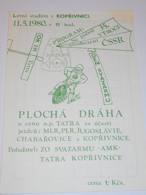 Plochá dráha Kopřivnice - AMK Tatra - 11. 5. 1980 - program