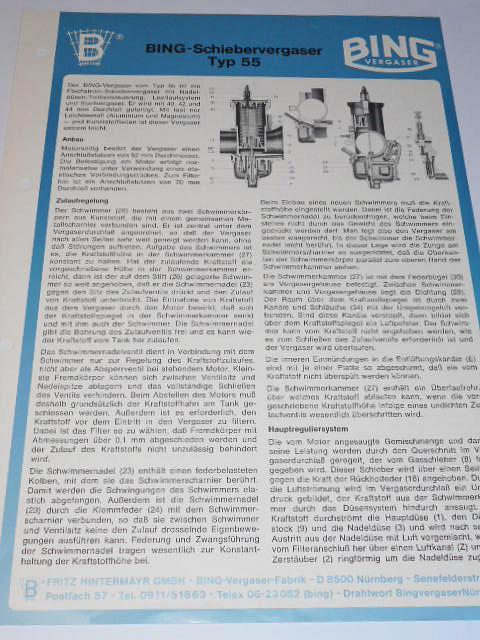 Bing - Schiebervergaser Typ 55 - prospekt - 1982