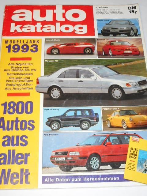 Auto Katalog 1993 - Škoda Favorit, Forman, Pick-up, Tatra 613-4, Tatra MTX V8 ...