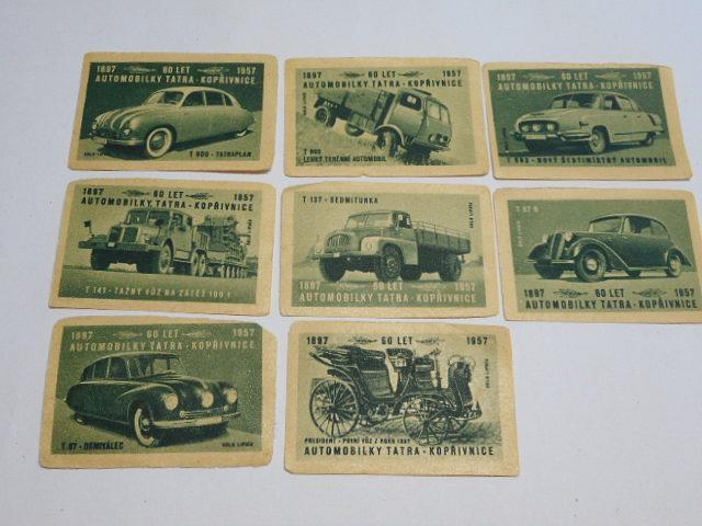 Automobily Tatra Kopřivnice - 60 let - 1897 - 1957 - nálepky na zápalkové krabičky