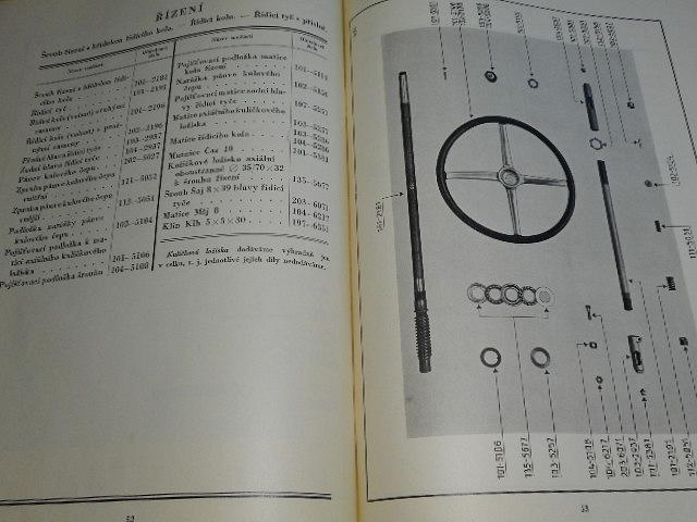 Škoda 430 čtyřválec 72 x 102 - seznam součástí osobního vozu - 1930