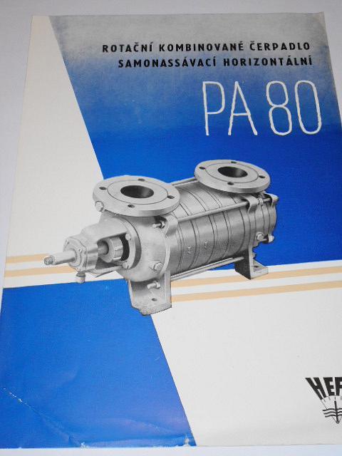 HEFA - rotační kombinované čerpdlo samonassávací horizontální PA 80 - prospekt - 1957