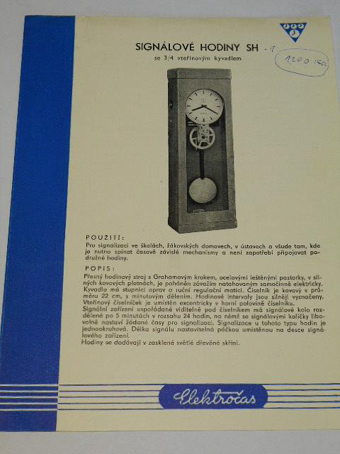 Elektročas - signálové hodiny SH se 3/4 vteřinovým kyvadlem - prospekt