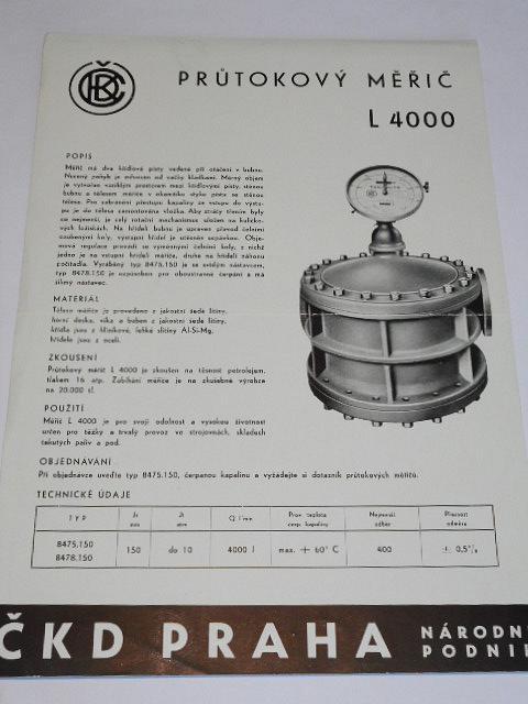ČKD - průtokový měřič L 4000 - prospekt - 1959