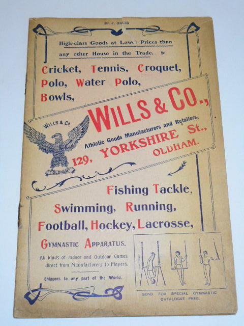 Wills a Co. cricket, tennis, croquet, polo, water polo, bowls, fishing tackle, swimming, running, football, hockey, lacrosse, gymnastic apparatus - catalogue