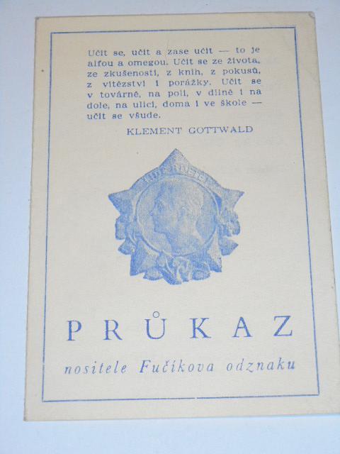 Průkaz nositele Fučíkova odznaku - 1951 - Československý svaz mládeže