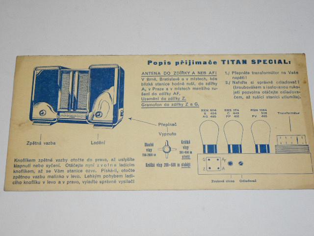 Popis přijimače Titan Special