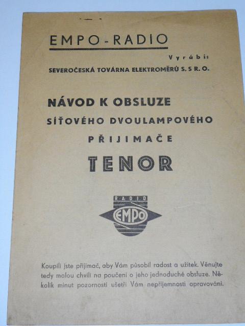 Empo - radio - Tenor - návod k obsluze síťového dvoulampového přijimače