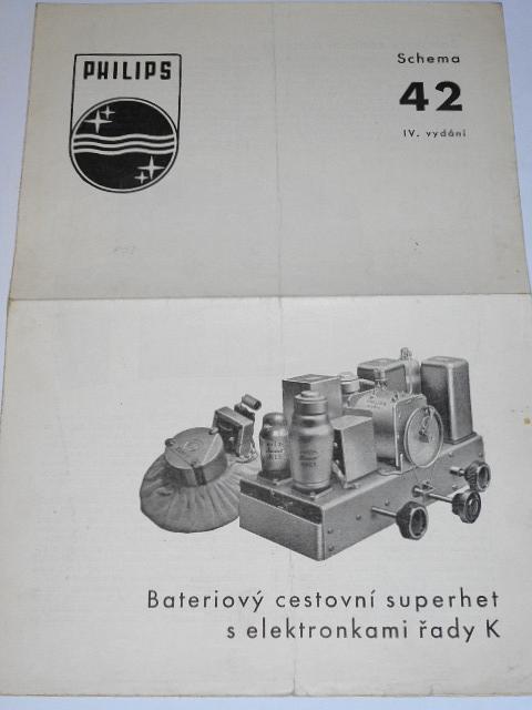 Philips - bateriový cestovní superhet s elektronkami řady K