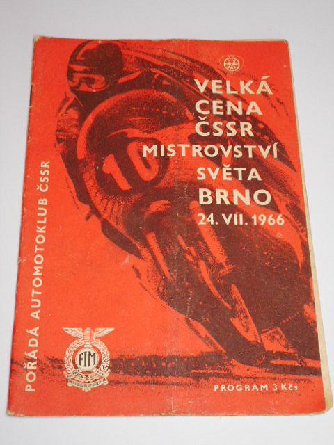 Velká cena ČSSR, Mistrovství světa, Brno 24. 7. 1966 - program + startovní listina