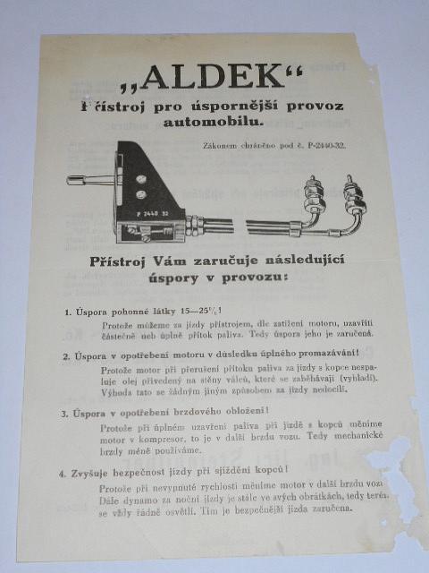 Aldek - přístroj pro úspornější provoz automobilu - leták