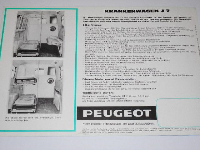 Peugeot J7 - Krankenwagen mit 2 Bahren - prospekt - 1967