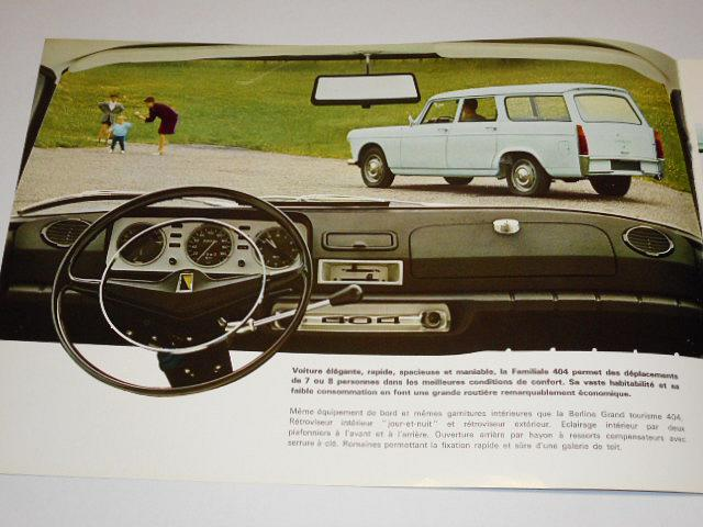 Peugeot 404 - familiale - break - commerciale - prospekt - 1968