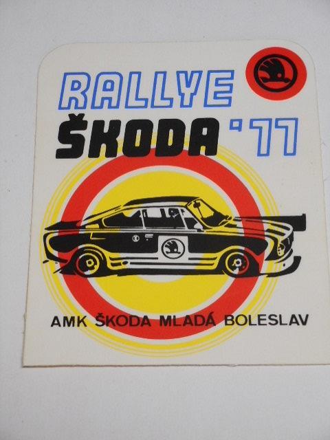 Rallye Škoda 1977 - AMK Škoda Mladá Boleslav - samolepka - Škoda 130 RS