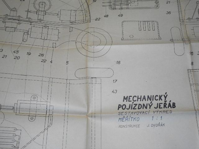 Mechanický pojízdný jeřáb - plánky mladých techniků - 1953