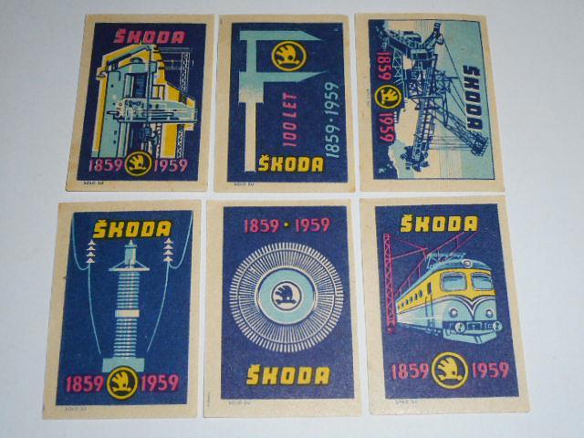 Škoda Plzeň 1859 - 1959 - 6 kusů nálepek na zápalkové krabičky