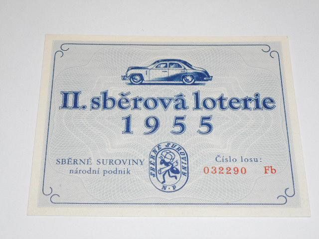 Sběrné suroviny - II. sběrová loterie 1955 - los