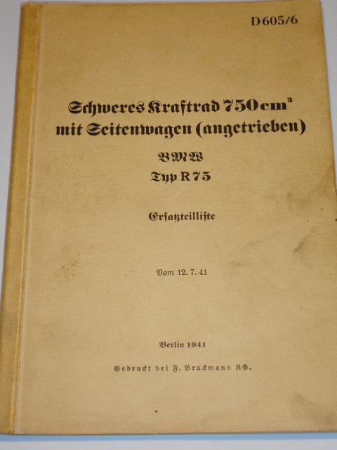BMW R 75 750 ccm - Sahara - 1941 - Ersatzteilliste - D 605/6 - Wehrmacht